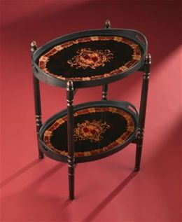 AA Importing 80207 Two Tier Oval Side Table with Reverse Painted Glass Top - Black Red and Gold