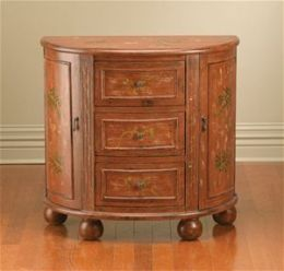 AA Importing 49668 Half Round Console Cabinet - Distressed Brown