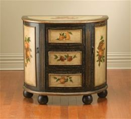 AA Importing 49671 Half Moon Console Cabinet - Distressed Black and Antique Ivory