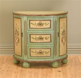 AA Importing 49673 Half Moon Console Table - Pastel Green and Antique Ivory with Floral Design