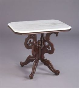 AA Importing 38403 Rectangular Victorian Style Lamp Table with White Marble Top
