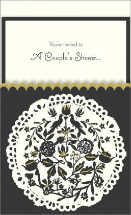 Black Silhouette Glitter Imprintable Invitation Set of 10