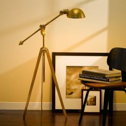 Pimlico Tripod Boom-Arm Pharmacy Floor Lamp in Antique-Burnished Bronze