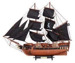 Benzara 71573 23 In. Pirate Ship Black Sailboat Wood Model Nautical