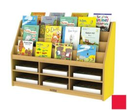 Early Childhood Resource ELR-0727-RD Colorful Essentials Book Display with Storage - 6 Compartment - Red