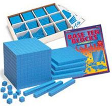 LEARNING RESOURCES LER0932 BASE TEN CLASS SET PLASTIC BLUE-600 UNITS 200 RODS 20 FLATS 3 CUBES