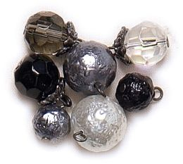 Blue Moon Lost & Found Glass Beads-Round Assorted Jet/Smoke/Crystal 7/Pkg