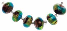 Blue Moon Art Glass Beads-7x12mm Rondelle Blue-Gld Foil Bead 6/Pkg
