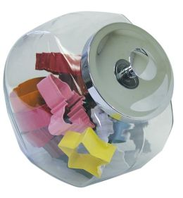 Glass Cookie Jar with 12 Cookie Cutters
