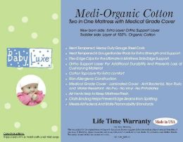 L.A. Baby Babyluxe Medi-Organic Medical Grade 2 in 1 Crib Mattress