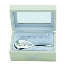 Silver Plated Comb and Brush Set in Keepsake Box