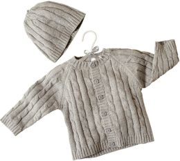 Boxed Gray Cable Sweater and Hat Set 0-6 Months