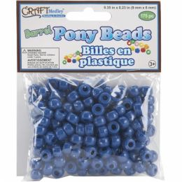 American Classics Corp 491903 Barrel Pony Beads 9mmx6mm 175-Pkg-Royal Blue - Pack of 10