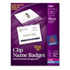 Avery Consumer Products AVE74541 Name Badges- w- Clip- Top Load- 3in.x4in.- White