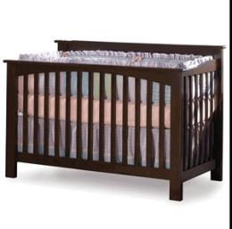 Atlantic Furniture J-98304 Columbia Convertible Crib in Antique Walnut