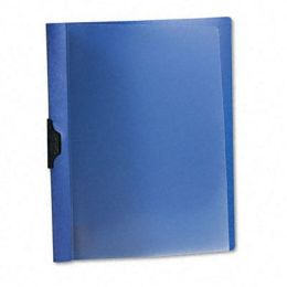 Oxford 52002 Polypropylene No-Punch Report Cover- Letter- Clip Holds 30 Pages- Clear/Blue