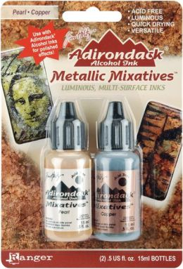 Adirondack Alcohol Ink Metallic Mixatives .5 Ounce 2/Pkg-Pearl & Copper