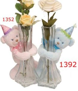 First & Main 1392 Lil Babys 1st Birthday Bear - Blue Vase Hugger