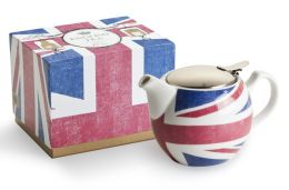 Union Jack English Porcelain 14 oz. Teapot with Stainless Steel Strainer
