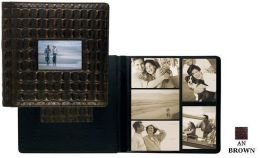Raika AN 113-F BROWN 11in. x 12in. Frame Front Single Page Photo Album - Brown