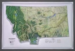 Hubbard Scientific Raised Relief Map K-MT2617 Montana NCR Series