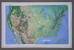 Hubbard Scientific Raised Relief Map K-US2617 U.S. NCR Series 26 Inch x 17 Inch Mainland
