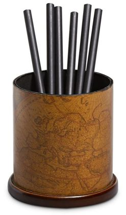 Antique Map Round Pencil Cup 4'' High