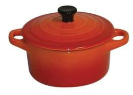 Paderno World Cuisine 1/4 Qt. Orange Round Ceramic Lidded Casserole