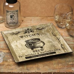 Witch's Brew Black and White Square Tray 10.25
