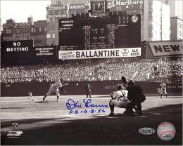 Autographed Don Larsen First Pitch Black & White Horizontal 8x10 Photograph with Perfect Game 10-8-56 Inscription