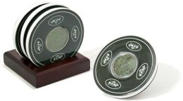 Green New York Jets Logo Coasters with Gamed Used Turf - Set of 4