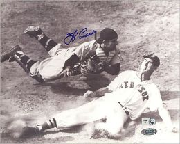 Autographed Yogi Berra vs. Ted Williams Slide - Black & White Horizontal 8x10 Photograph