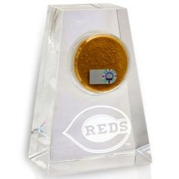 Cincinnati Reds Tapered Crystal Paperweight with Game Used Dirt