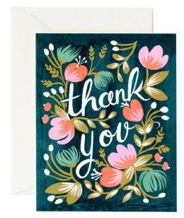 Midnight Garden Thank You Note Card Set of 8
