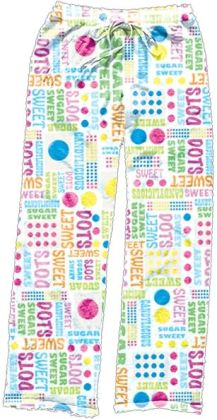 Candy Dots Poly Plush Pants: Size Large