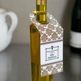 Three Designing Women Brown Damask Wine Tags