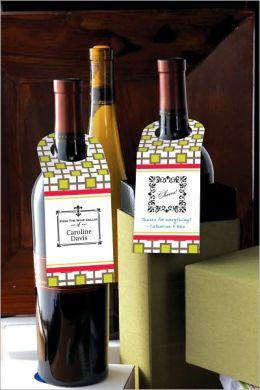 Three Designing Women Green Trellis Wine Bottle Tags