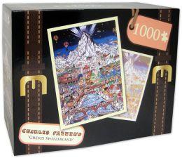 1,000 Pc Puzzle - Gruezi Salut Cia Bun Di Switzerland - Charles Fazzino