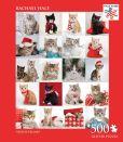 Product Image. Title: 500 Piece Glitter Puzzle - Festive Felines - Rachael Hale