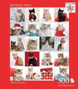 500 Piece Glitter Puzzle - Festive Felines - Rachael Hale