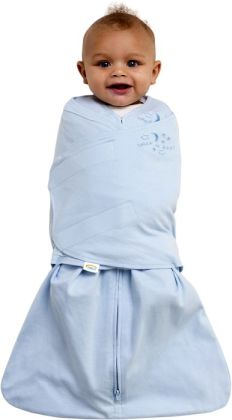 Halo SleepSack swaddle 100% cotton size small 13-18 lbs soft blue