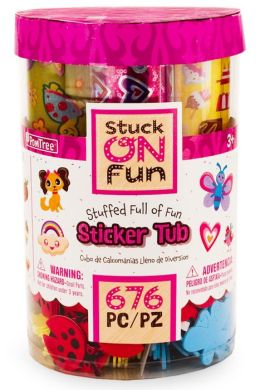 PomTree Sticker Bucket Large with Foam, Felt and Paper Stickers Creatures Theme.
