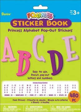 Foam Pop-Out Sticker Book 480/Pkg-Princess Alphabet-Pastel