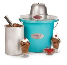 Nostalgia Electrics™ ICMP-400BLUE 4-Quart Electric Ice Cream Maker, Blue