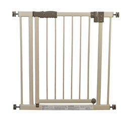 Dream On Me Deluxe Auto Close and Lock Security Gate in Ivory/ Gray