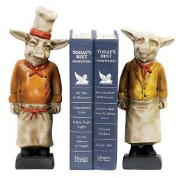 SI 4-303300 Pair Chef Pig Bookends No.91