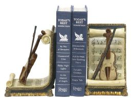 SI 91-1613 Pair Violin And Music Bookends