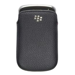 RIM Blackberry BLACK Leather Pocket Cover Case (no belt clip) Bold Touch 9930 9900