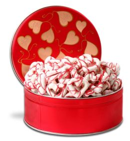 Chocolate Dipped Heart Shaped Pretzels in Gift Tin