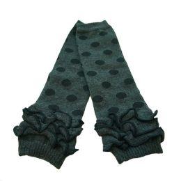 Polka Dots & Ruffles Baby Leg Warmers - Grey